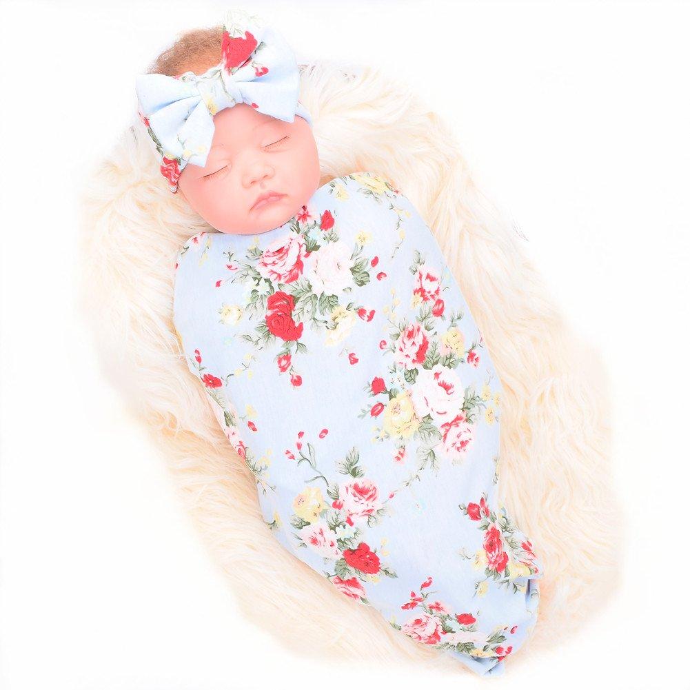 Galabloomer Newborn Receiving Blanket Headband Set Flower Print Baby Swaddle Receiving Blankets SW008 blue rose