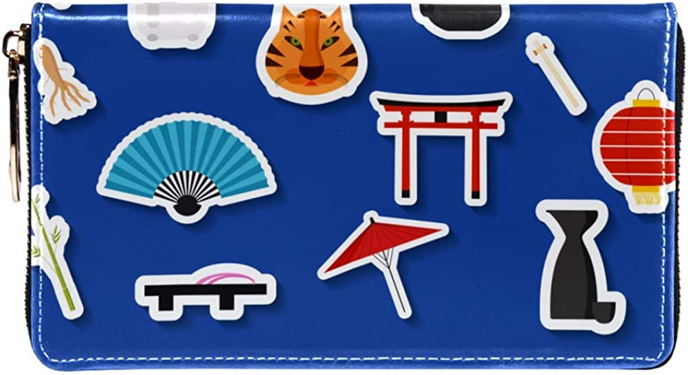 Womens Zip Around Wallet and Phone Clutch,Travel Purse Leather Clutch Bag Card Holder Organizer Wristlets Wallets,Japanese Landmarks Temple Tokyo