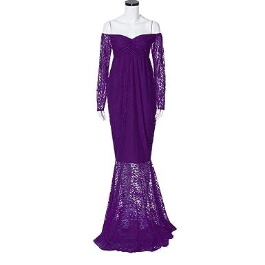 Women Maxi Dress for Pregant, Cest Lace Long Sleeve Photography Props Off Shoulders
