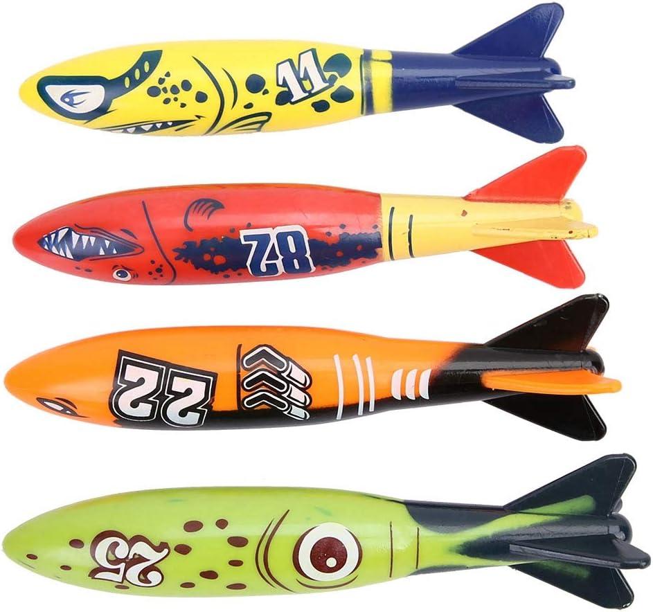 Alomejor Modelo de pez para Nadar, Nadar bajo el Agua, Juguete de Playa, Forma de Cohete de tibur¨®n, lanzar torpedos para ni?os de 6 a 8 a?os (4 Piezas)