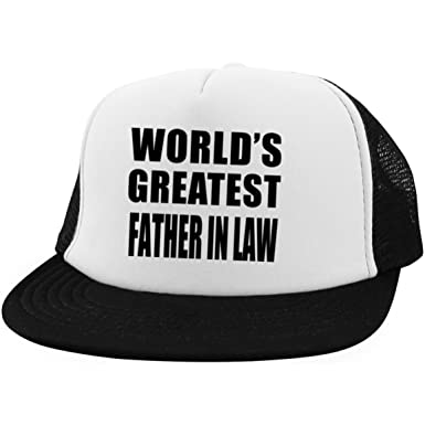 worlds greatest father in law trucker hat embroidery adjustable cap best gift