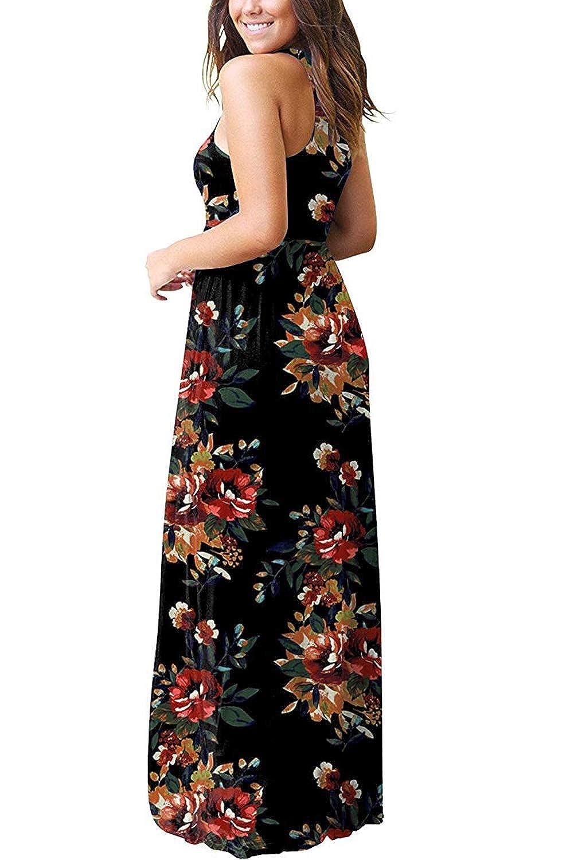 99e97b38821d8 Women's Summer Casual Floral Sleeveless Loose Plain Long Maxi Dress with  Pockets