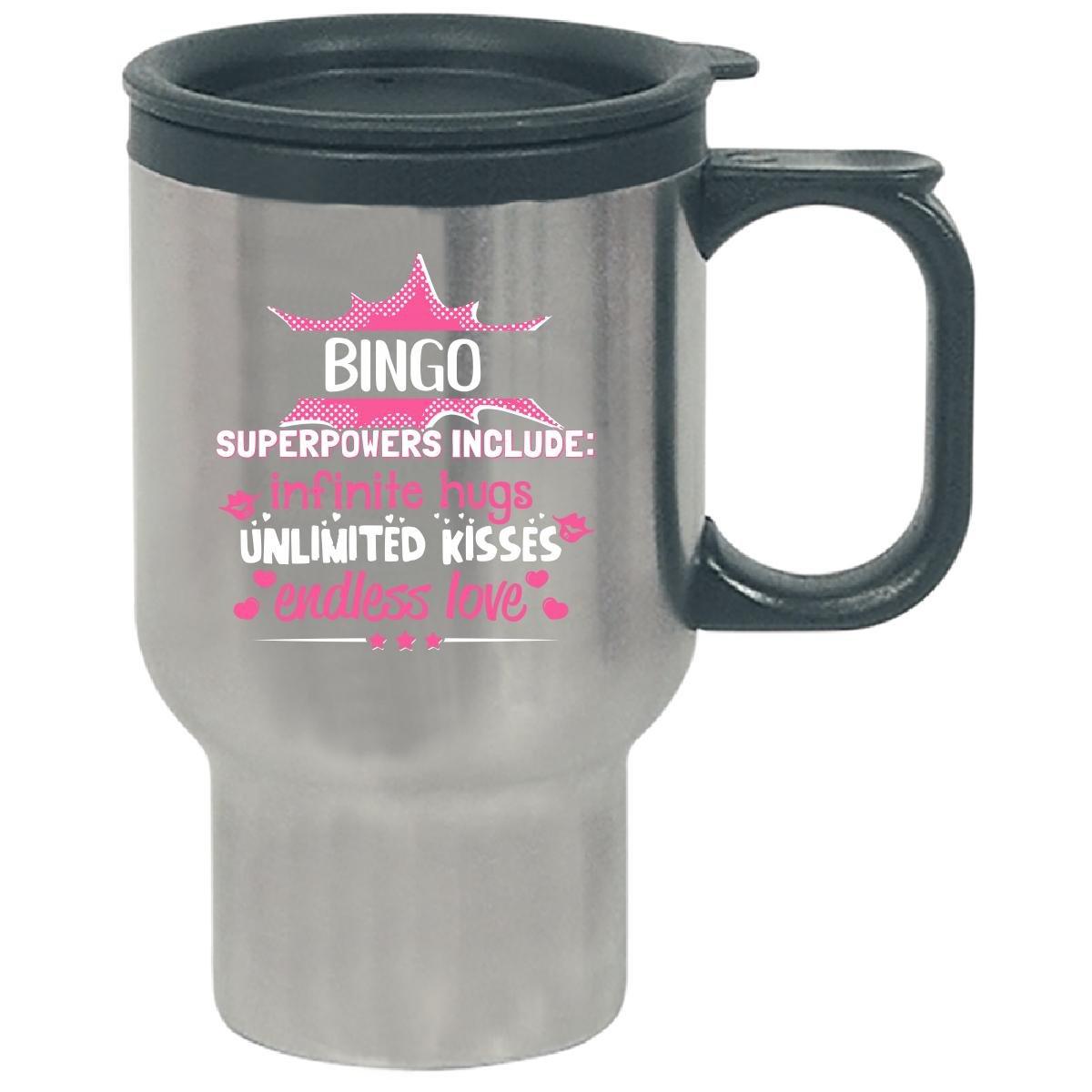 Bingo Superpowers Hugs Kisses Love Gift For Grandma - Travel Mug