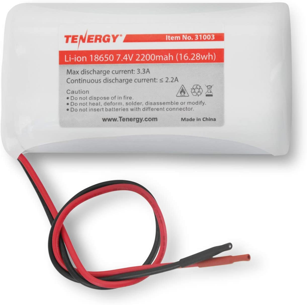 Tenergy 7.4V Li-ion 2200mAh Rechargeable Battery Module with PCB