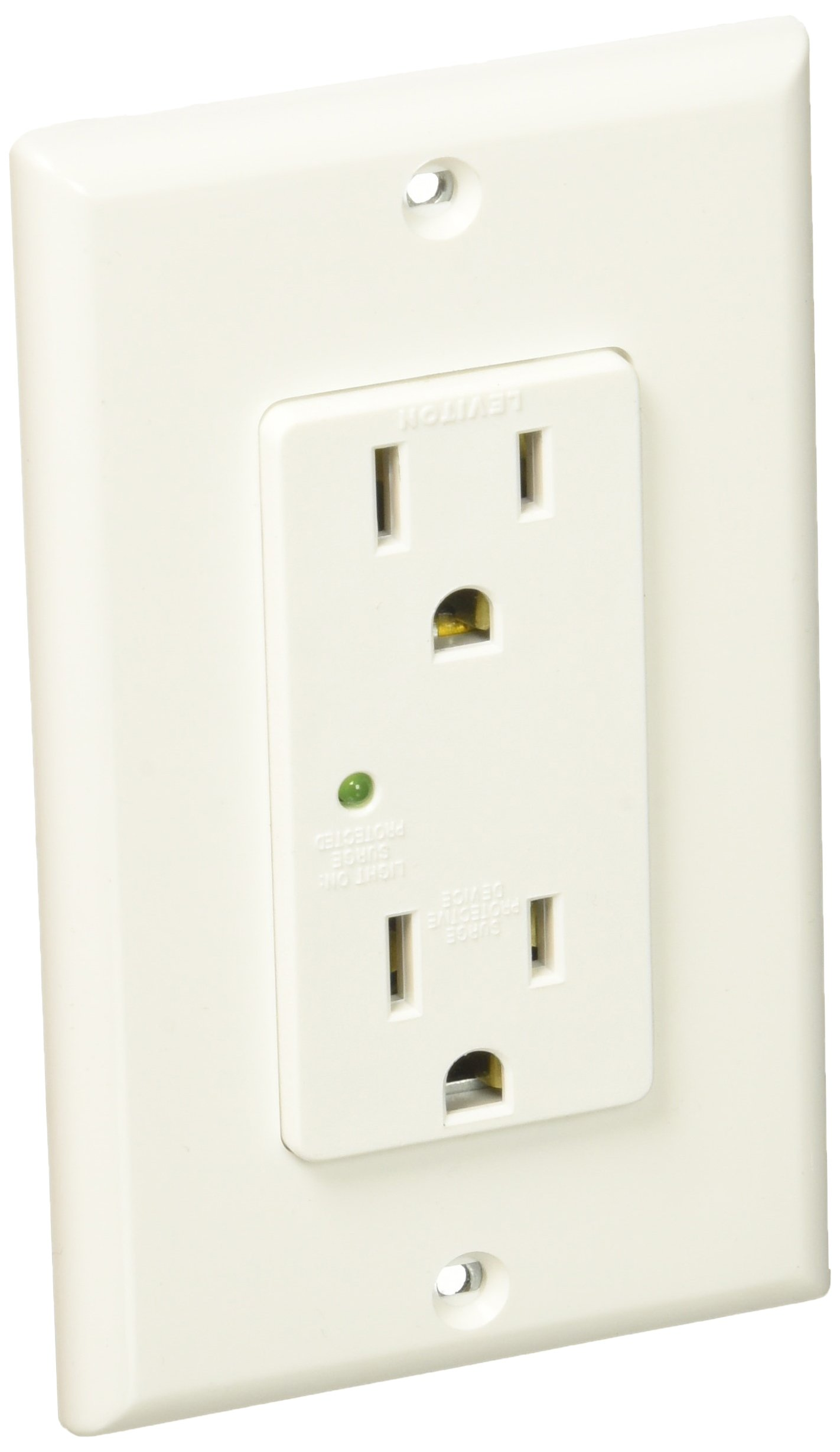 Leviton 5280-W 15 Amp, 125V, Decora Plus Duplex Surge Suppressor Receptacle, Straight Blade, Industrial Grade, Self Grounding, 10-Pack, White
