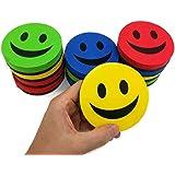 """KIBOO 12-Pack Smile Face 3.75"""" Magnetic White Board Dry Felt Eraser Set for Teachers Kids School Classroom - Home Office Whiteboard Refrigerator Fridge"""