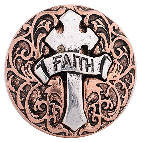 Silver Rose Snap (Interchangeable 18-20mm Snap Jewelry Silver Faith on Cross & Rose Gold Base by My Prime Gifts)