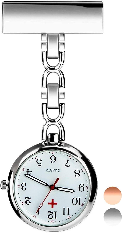 Reloj de Enfermera, Reloj de Bolsillo de Cuarzo con Broche para Colgar, Reloj de Enfermera Resistente al Agua con Silicona para Hombre Mujer Niño Niña médico Enfermeras paramédico (Silver): Amazon.es: Relojes