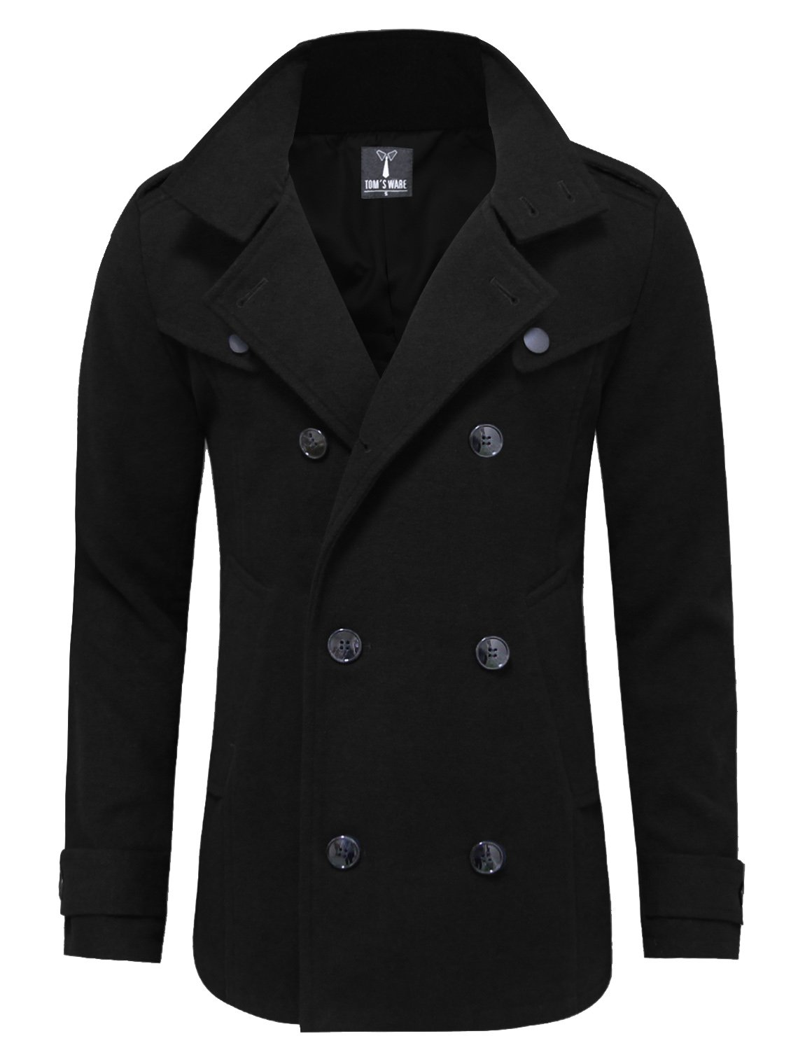Tom's Ware Mens Stylish Fashion Classic Wool Double Breasted Pea Coat TWCC06-BLACK-US M