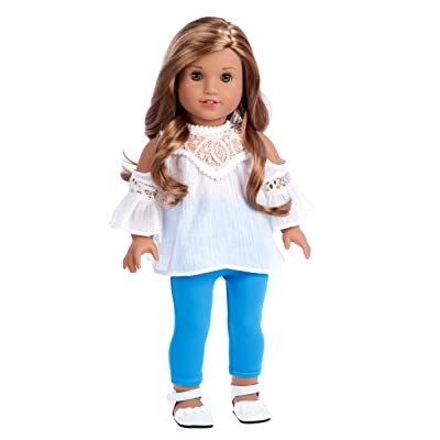 DreamWorld Collections - Trendy Girl - Clothes Fits 18 Inch American Girl Doll - 3 Piece Outfit - White Cotton Blouse, Turquoise Leggings and White Shoes (Dolls Not Included): Toys & Games