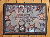 CAT FOOD DISH BOWL MAT ''Here, kitty, kitty, kitty.....!'' washable durable CUTE! Made in USA …