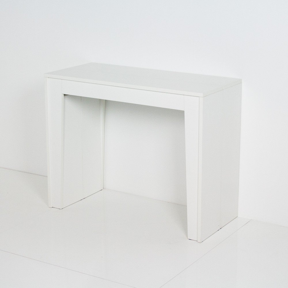 Extendable Modern Console Dining Table Magica Lucid White with Cabinet