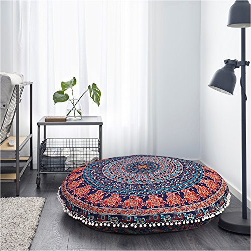 Elephant and Peacock Designs Large Round Pillow Cover Decorative Mandala Pillow Sham Indian Bohemian Ottoman Poufs Cover Pom Pom Pillow Cases Outdoor Cushion Cover by Gokul Handloom
