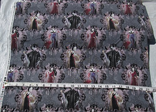 (Cotton Fabric by the Yard - Disney - Villains Portraits - Female Villains on Gray Background)