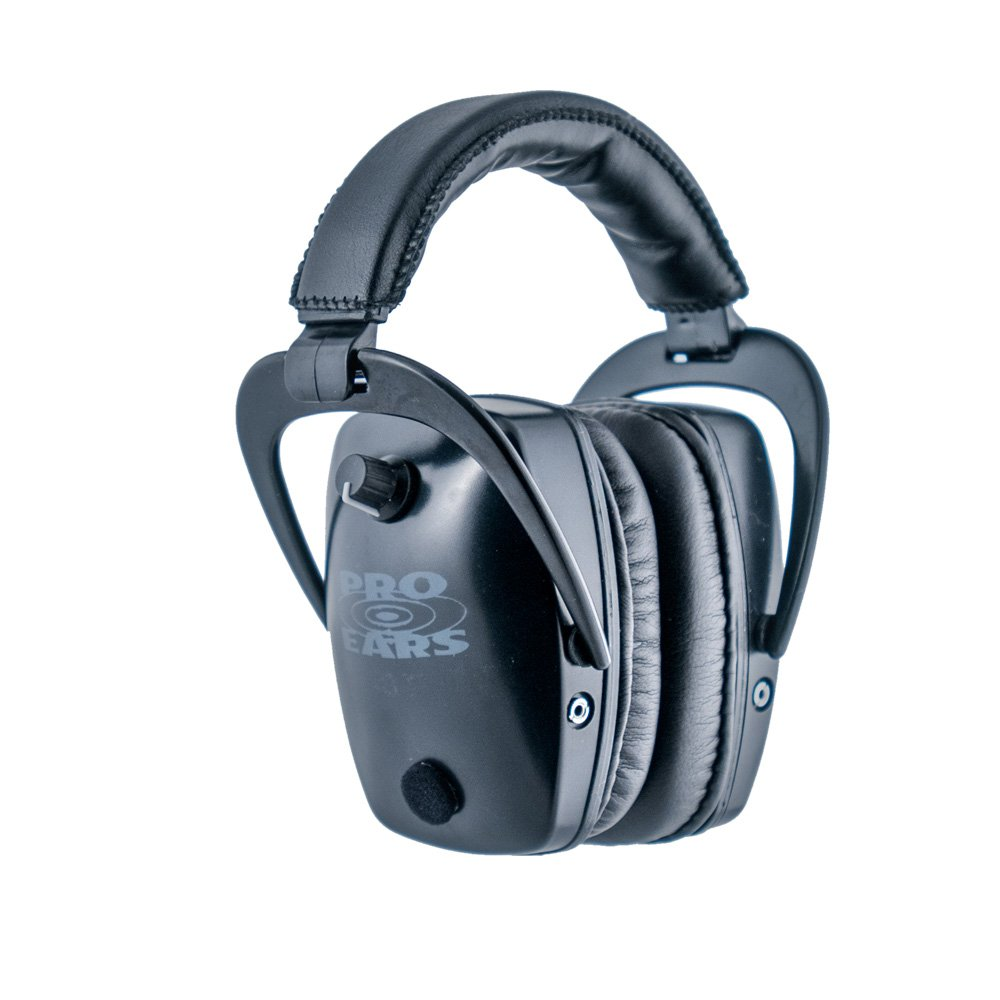 Pro Ears - Pro Tac Slim Gold - Military Grade Hearing Protection and Amplification - NRR 28 - Ear Muffs -  Lithium 123a Batteries - Black by Pro Ears (Image #1)