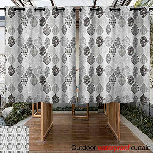 AndyTours Curtains for Bedroom,Doodle,Woodland Forest Pattern with Abstract Leaves Sketch Art Style,Curtains for Living Room,K140C115 Charcoal Grey Pale Grey White