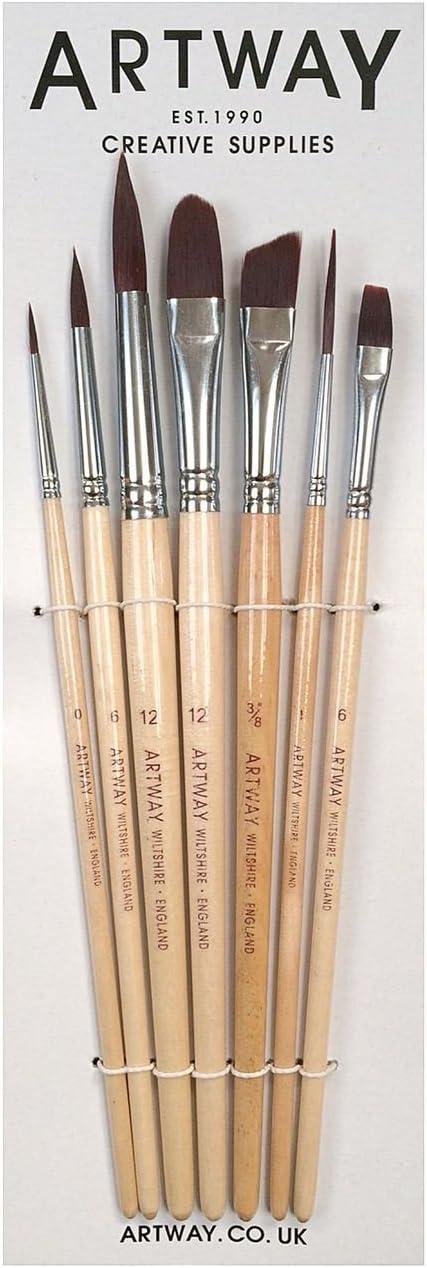 Artway - Set de 7 Pinceles de Pintura - Redondos, Plano, de Lengua de Gato, delineador y Chisel - Nailon - 1 Unidad