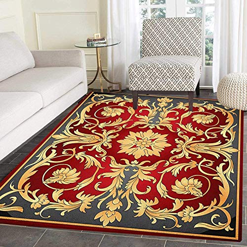 Turkish Pattern Anti-Skid Area Rug Ottoman Spiral Foliage Pattern Frame Filigree Style Royal and Retro Door Mat Increase 5'x6' Ruby Mustard Black