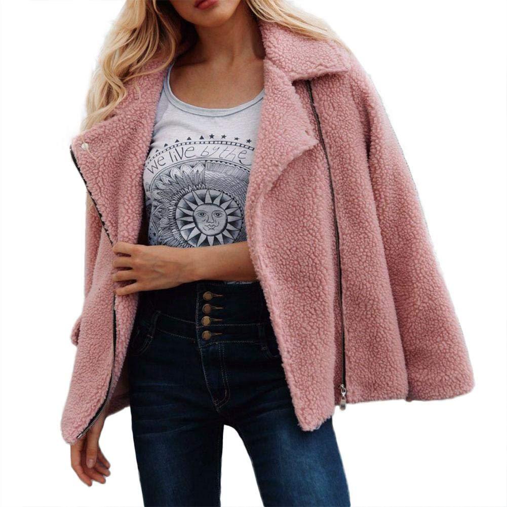 iBaste Women Jacket Winter Lapel Coat Shaggy Outerwear Faux Fur Jacket Cardigan Trench