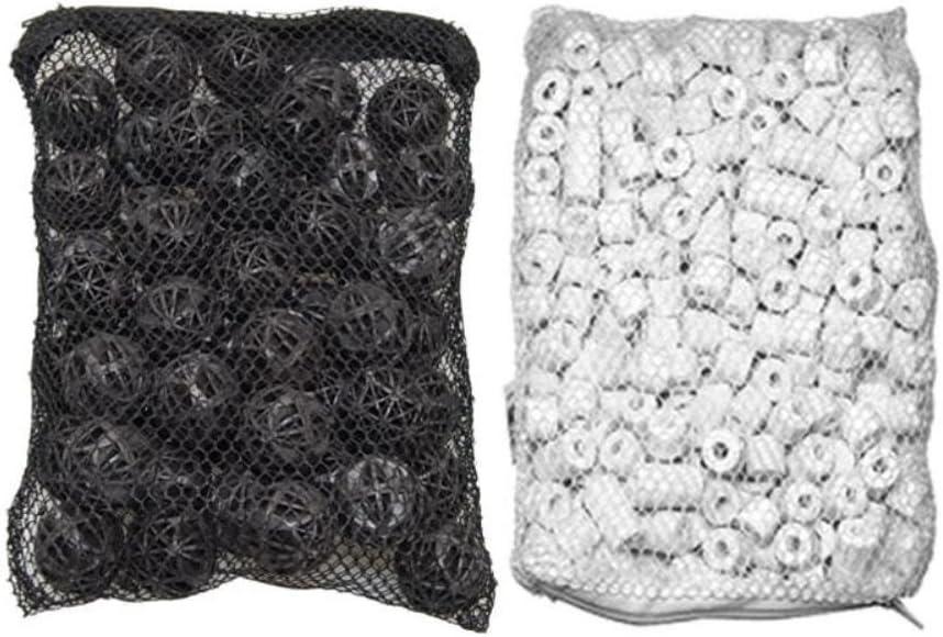 Aquarium Filter 50 Piece Ceramic Rings Plus Bio Balls in Media Bags for Aquarium Canister, 500 g