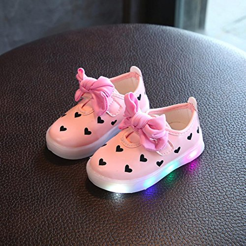 Prevently Kleinkind Kinder Bowknot Kinder Baby Herz Schuhe LED Leuchten Leuchtende Turnschuhe Mädchen Lieben LED Sandalen Bogen LED Rosa