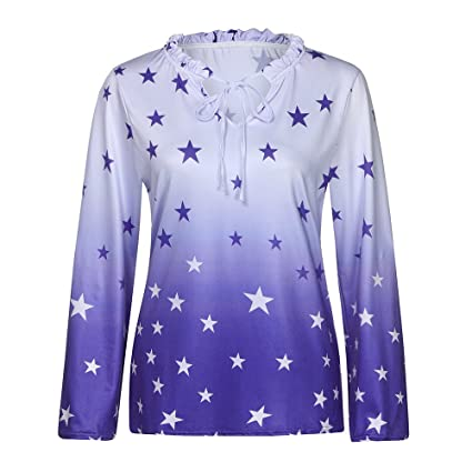 52f180e9ee6 Image Unavailable. Image not available for. Color  Seamount Plus Size Lace- up Stars Womens Tunic Shirt ...
