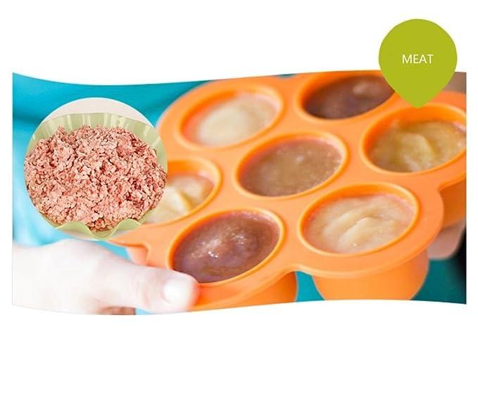 Bebé de silicona reutilizable Alimentos Contenedores de almacenamiento para etapa, mejor congelador bandejas para casero comida para bebés con clip en la ...