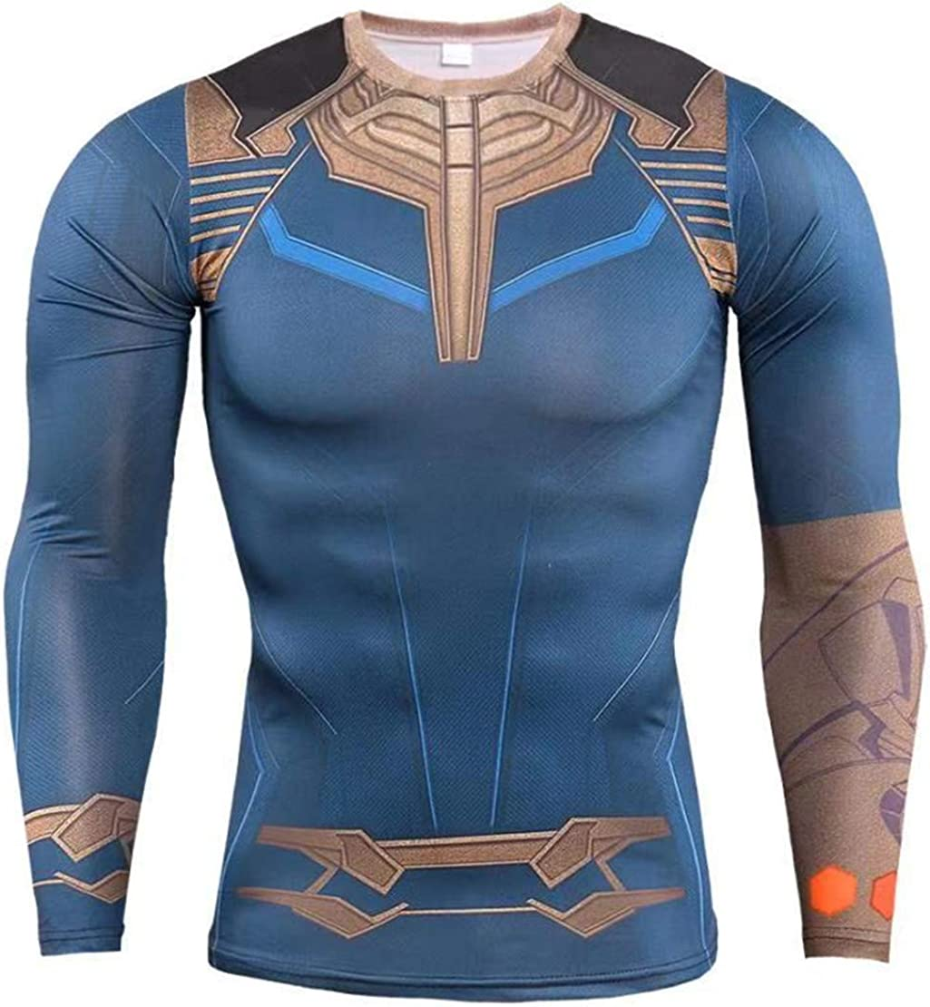Cosfunmax Thanos Shirt Super Hero Compression Sports Shirt Men's Fitness Tee Gym Tank Top XL