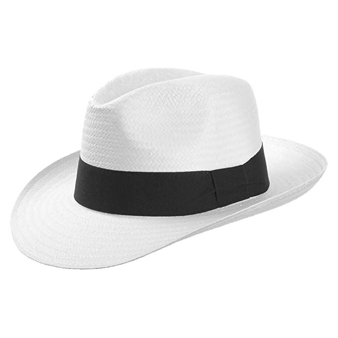 d45471172 White Mountain Straw Hat (Fedora) with Grosgrain Ribbon | Spring/Summer Hat  | Colour White | Sun Hat in Sizes S-XL
