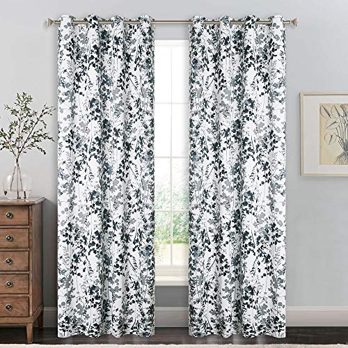 - KGORGE Artistic Leaves Patterned Curtains - Grey Printed Thermal Insulated Window Dressings with Light Reduction/Privacy Protection Functions for Salon/Gallery/Hotel Décor, W52 x L95, 2 Pcs
