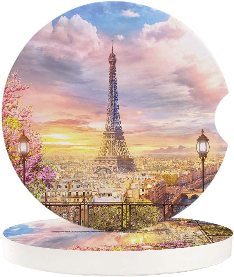 Chic D Drinks Car Coasters 6 Pack for Women/Men, Absorbent Ceramic Automotive Cup Holder Coaster Set, Paris Eiffel Tower Funny Car Accessories for Car Living Room Kitchen Office, City Landmark