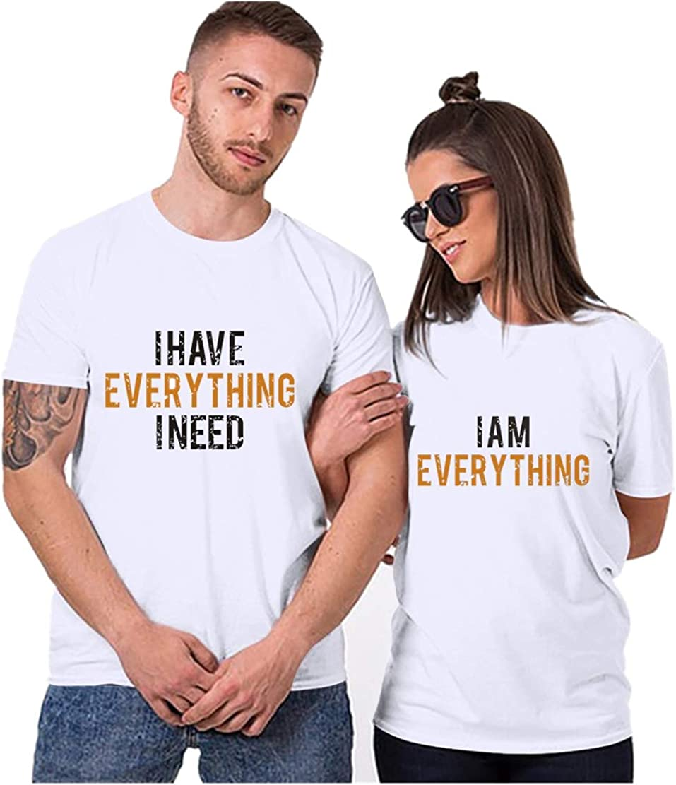 aihihe Wedding Matching Valentine's Day T-Shirt Couples T-Shirts for Boyfriend & Girlfriend Letter Print Tees