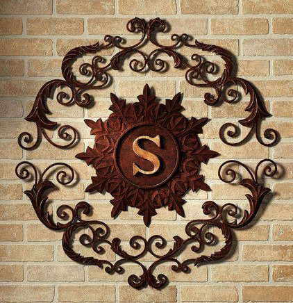 Lavish IRON SCROLL MONOGRAM Initial Letter Wall Grille Plaque Art Metal  Outdoor