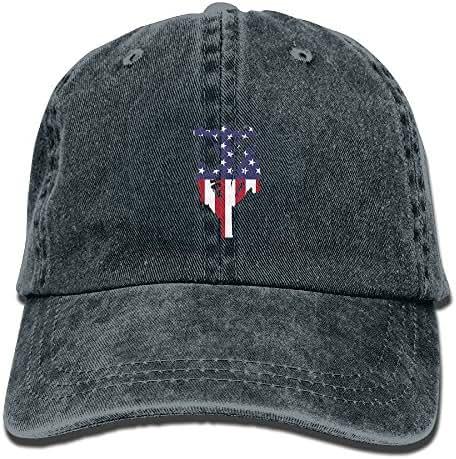JINYOUR Cowboy Hat American Flag of Lineman Adult Adjustable Washed Baseball Cap