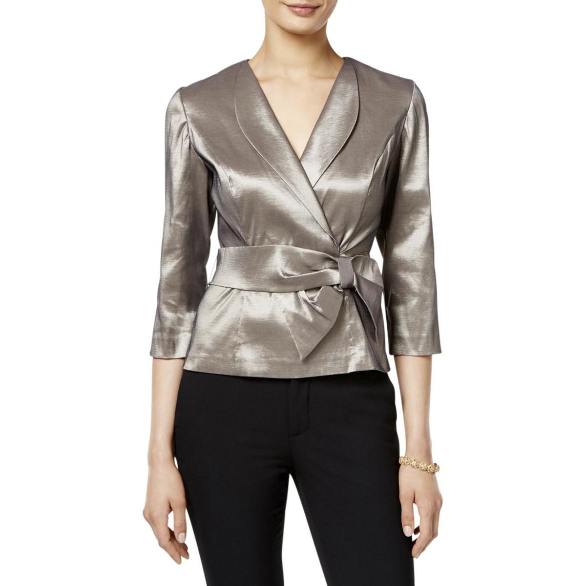 Alex Evenings Womens Metallic Bow Wrap Top L