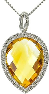 14k gold citrine diamond pendant