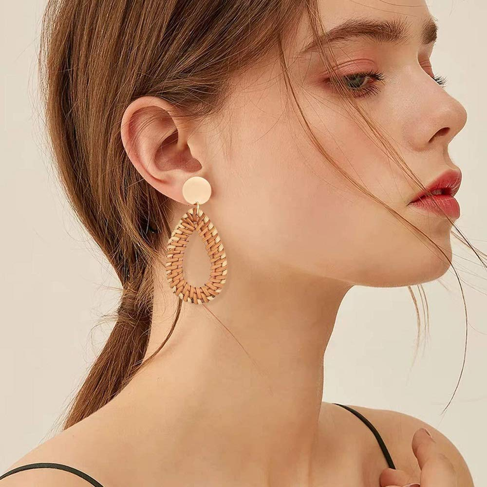 Rattan Bohemian Tassel Long Dangle Drop Teardrop Earrings for Women Girls Fashion Woven Handmade Straw Wicker Geometric Lightweight Statement Boho Jewelry 2019 Summer Vacation Set Gifts Best Friend