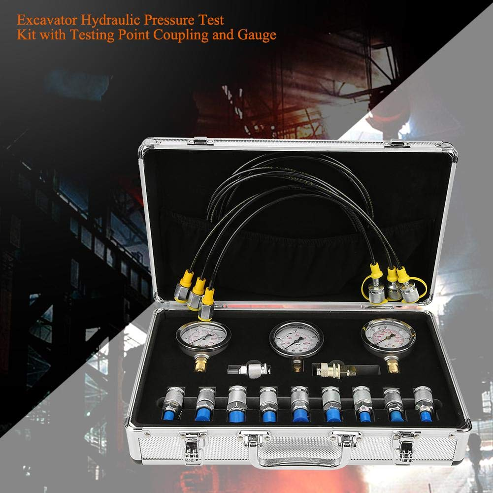 1 Quick Connector Construction Machinery Excavator Hydraulic Pressure Test 3 Test Hose,10 Test Coupling 3 Pressure Gauge Lightweight Black Plastic Box Hydraulic Pressure Gauges Kit Quality