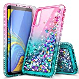 Galaxy A50 Case with Tempered Glass Screen Protector, NageBee Glitter Liquid Floating Waterfall Durable Girls Women Cute Protective Case for Samsung Galaxy A50 (2019)/A50S/A30S -Pink/Aqua
