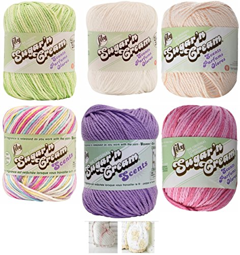 Lily Sugar n' Cream Scents Yarn Variety 6-Pack Bundle 100 Percent Cotton Medium 4 Worsted (Multicolor)