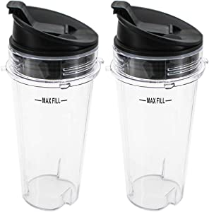 Joyparts Replacement Parts cups for Ninja Blender, 2 Pack 16-ounce Single Serve Cup and Sip&Seal Lid Fit Ninja BL200 30/ BL201 30/BL201C 30/BL203QBK/BL100, All Pro 3Tabs Cups