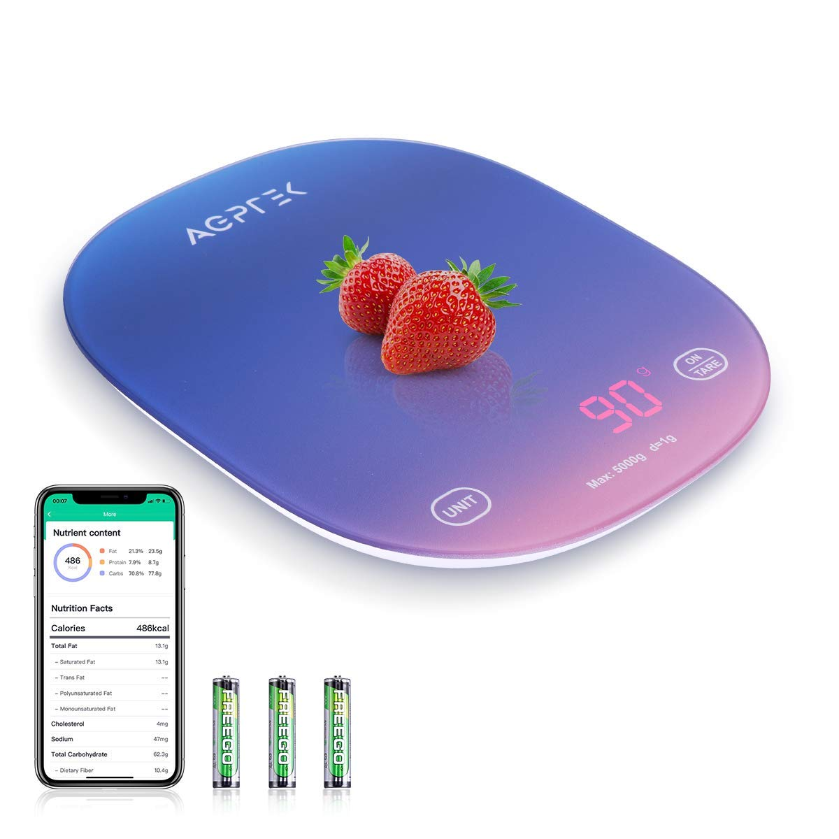 Smart Food Scale with Smartphone App, AGPTEK Digital Kitchen Scale Measures in Grams, Ounces and Pounds, Food Nutritional Calculator for Weight Loss, Baking, Cooking, Coffee, Dark Blue
