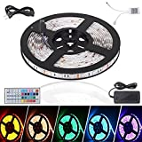 Litake LED Light Strip 16.4ft Waterproof 5050 LED Tape Light - 300 LEDs Color Changing RGB LED Ribbon Kit with Power Plug 44Keys Remote Control for Christmas Festival Party Home Garden Decoration