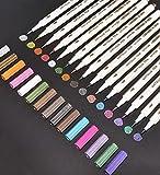 Feela 15 Colors Metallic Brush Marker Pens, Metallic Calligraphy Painting Pen for Card Making, Rock Painting, Glass, Metal, Wood,Script Lettering, DIY Photo Album