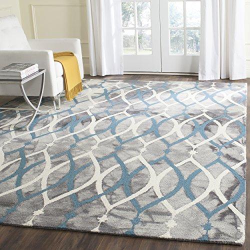 Safavieh Dip Dye Collection DDY534J Handmade Modern Geometric Watercolor Grey and Ivory Blue Wool Area Rug (8′ x 10′)
