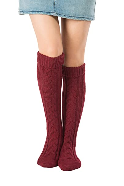 fba6d87e5 Womens Christmas Fuzzy Boot Sock Cable Knit Boot Socks Over Knee High  Winter Leg Warmers (