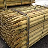 10 Pack Fencing Stake 1.2Mx50mm. Machine rounded 4ft treated wooden timber tree post