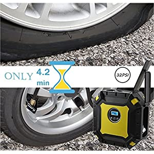 Portable Air Compressor Pump, Auto Digital Tire Inflator with Gauge, 12V 100PSI Auto Air Compressor Preset Pressure Shut Off with LED Light for Car, Truck, Bicycle, Basketballs (Digital display)