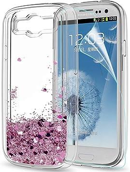 LeYi Coque Galaxy S3, Etui S3 Neo avec Film de Protection écran, Fille Personnalisé Liquide Paillette Flottant Transparente 3D Silicone Gel Antichoc ...