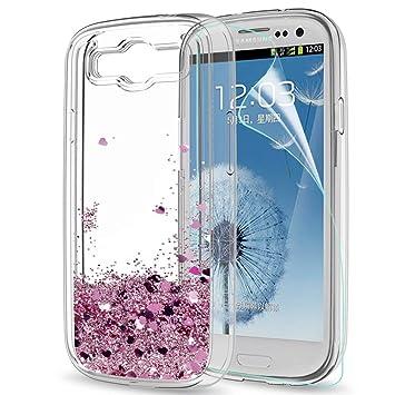 LeYi Compatible with Funda Samsung Galaxy S3 / S3 Neo Silicona Purpurina Carcasa con HD Protectores de Pantalla,Transparente Cristal Bumper Telefono ...